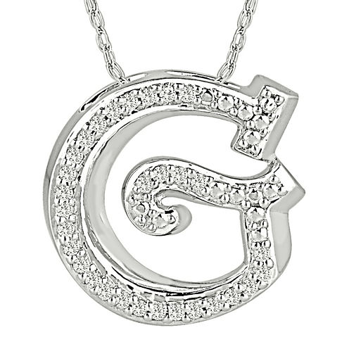 1/7 CT. T.W. Diamond Sterling Silver Initial G Pendant Necklace