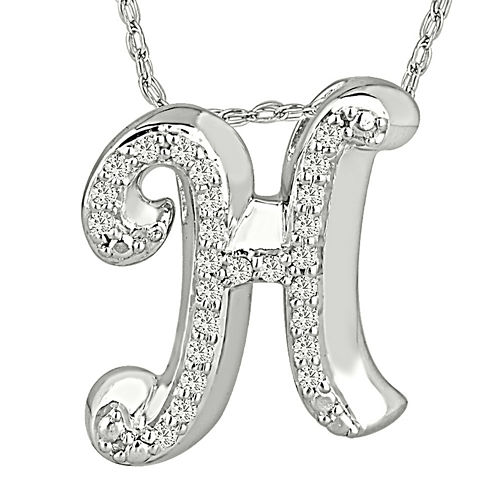 1/7 CT. T.W. Diamond Sterling Silver Initial H Pendant Necklace