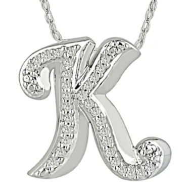 jcpenney.com | 1/7 CT. T.W. Diamond Sterling Silver Initial K Pendant Necklace