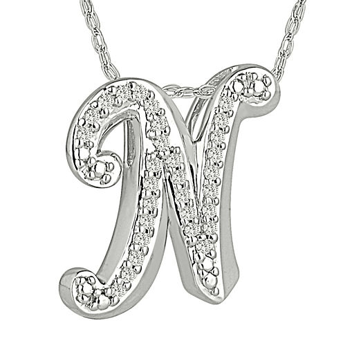 "1/7 CT. T.W. Diamond Sterling Silver Initial ""N"" Pendant Necklace"