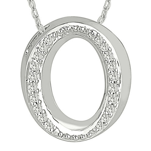 """1/7 CT. T.W. Diamond Sterling Silver Initial """"O"""" Pendant Necklace"""