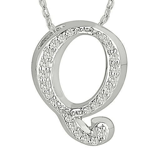 "1/7 CT. T.W. Diamond Sterling Silver Initial ""Q"" Pendant Necklace"