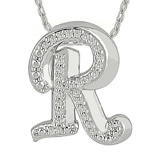 """1/7 CT. T.W. Diamond Sterling Silver Initial """"R"""" Pendant Necklace"""