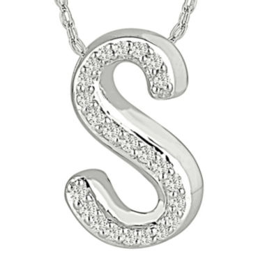 "jcpenney.com | 1/7 CT. T.W. Diamond Sterling Silver Initial ""S"" Pendant Necklace"