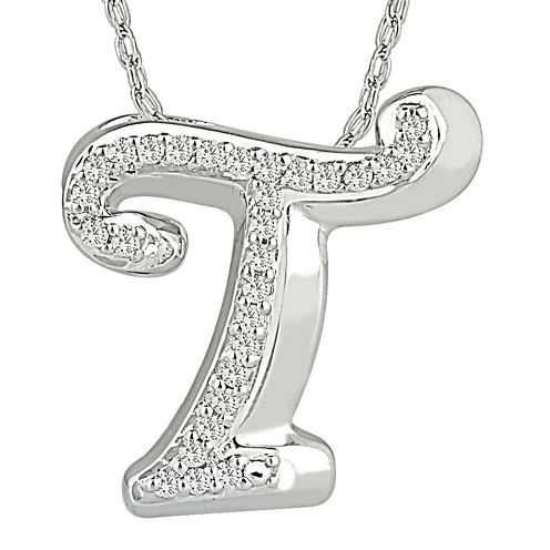 "1/7 CT. T.W. Diamond Sterling Silver Initial ""T"" Pendant Necklace"