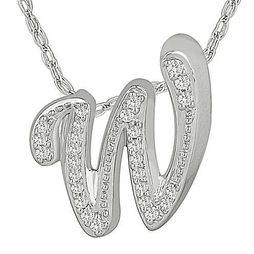 1/7 C.T. TW. Diamond Sterling Silver W Pendant