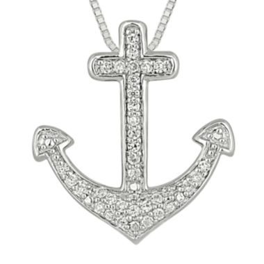 jcpenney.com | 1/4 CT. T.W. Diamond Sterling Silver Cross Anchor Pendant Necklace