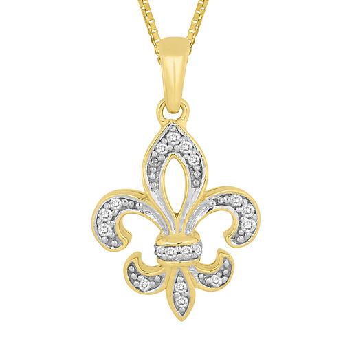 1/10 CT. T.W. Diamond Fleur-de-Lis Pendant Necklace