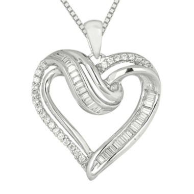 jcpenney.com | 1/3 C.T. TW Diamond Sterling Silver Heart Pendant Necklace