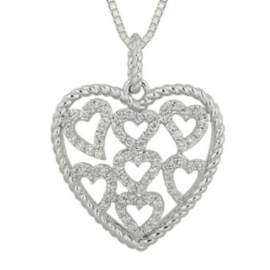 jcpenney.com | 1/2 CT. T.W. Diamond Sterling Silver Heart Pendant Necklace