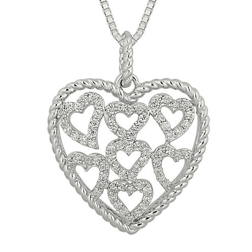 1/2 CT. T.W. Diamond Sterling Silver Heart Pendant Necklace