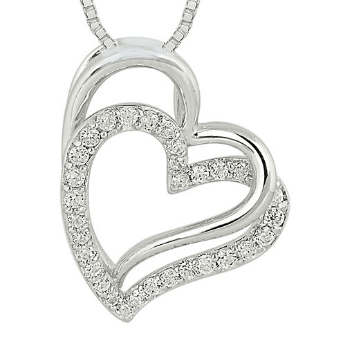 1/4 CT. T.W. Diamond Sterling Silver Double Heart Pendant Necklace