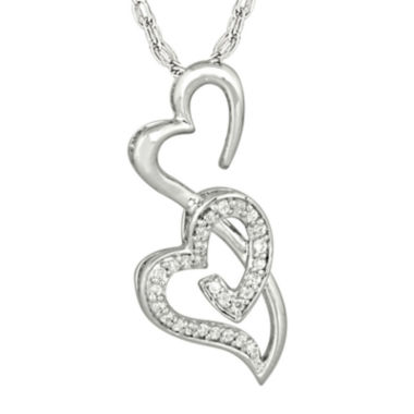 jcpenney.com | 1/6 CT. T.W. Diamond Sterling Silver Double Heart Pendant Necklace