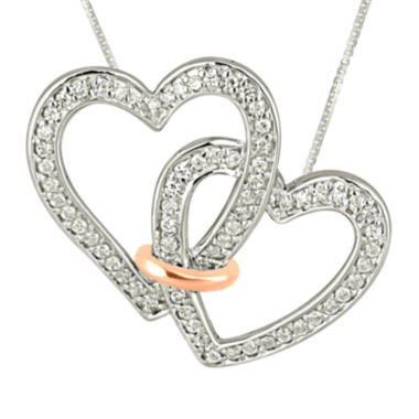 jcpenney.com | 1/3 CT. T.W. Diamond Connected Double Heart Pendant Necklace