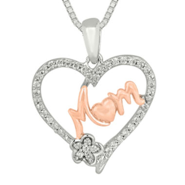 jcpenney.com | 1/5 CT. T.W. Diamond 10K Rose Gold Over Silver Mom Heart Pendant Necklace