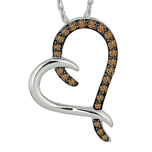 1/5 CT. T.W. Champagne Diamond Sterling Silver Heart Pendant Necklace