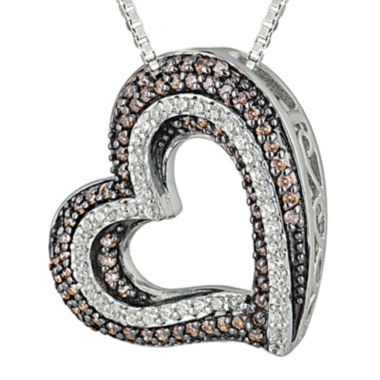 jcpenney.com | 1/2 CT. T.W. White & Champagne Diamond Sterling Silver Heart Pendant Necklace