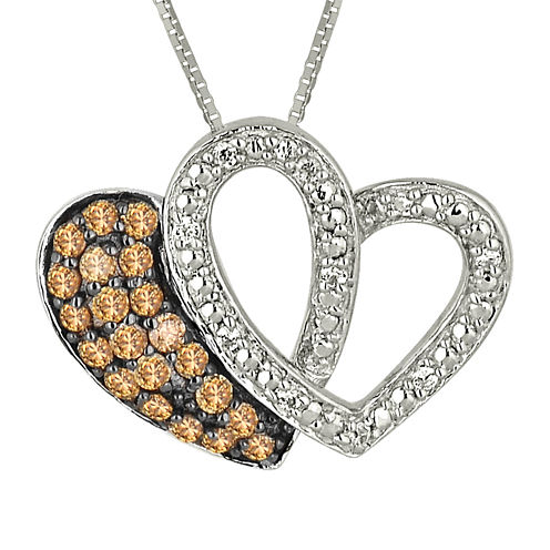 1/4 CT. T.W. White & Champagne Diamond Sterling Silver Double Heart Pendant