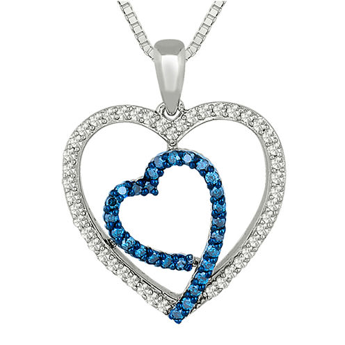 1/2 CT. T.W. White and Color-Enhanced Blue Diamond Double Heart Pendant Necklace