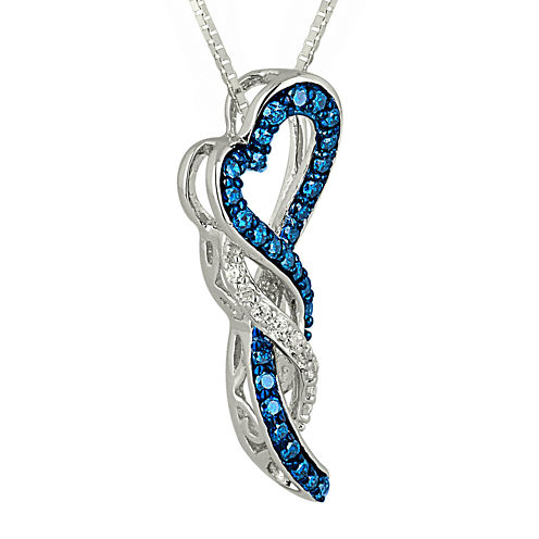 1/4 CT. T.W. White and Color-Enhanced Blue Diamond Heart Pendant Necklace