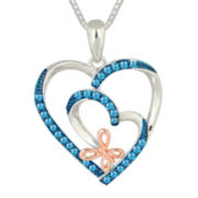 1/4 CT. T.W. Color-Enhanced Blue Diamond Heart and Butterfly Pendant Necklace