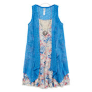 Knit Works® Short-Sleeve Floral Tiered Peasant Dress with Cozy - Girls 7-16