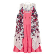 Knit Works® Sleeveless Floral Dress, Cozy and Necklace Set - Girls 7-16