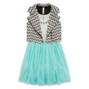 Knit Works® Chevron Moto Vest and Ballerina Dress - Girls 7-16