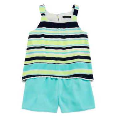 jcpenney.com | My Michelle® Sleeveless Neon Striped Popover Chiffon Romper - Girls 7-16