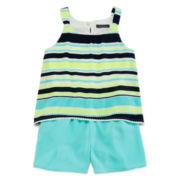 My Michelle® Sleeveless Neon Striped Popover Chiffon Romper - Girls 7-16