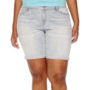 Arizona Raw-Hem Bermuda Shorts- Juniors Plus