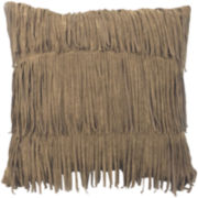 Faux-Suede Fringe Decorative Pillow