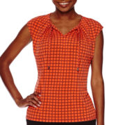 Liz Claiborne® Short-Sleeve Tie-Front Split-Neck Top - Petite