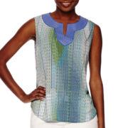 Liz Claiborne® Sleeveless Printed Blouse - Petite