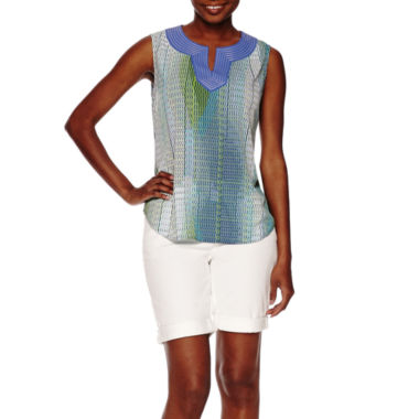 jcpenney.com | Liz Claiborne® Sleeveless Printed Blouse or Denim Bermuda Shorts