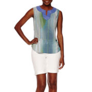 Liz Claiborne® Sleeveless Printed Blouse or Denim Bermuda Shorts