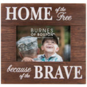 """Home of the Free"" Patriotic 4x6"" Wooden Picture Frame"
