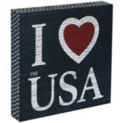 """I Love USA"" Sentimental Decorative Wood Box"