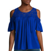 Stylus™ Short-Sleeve Cold Shoulder Lace Yoke Peasant Top - Tall