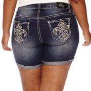 ZCO Fleur De Lis Turn Up Fray Hem Shorts - Plus