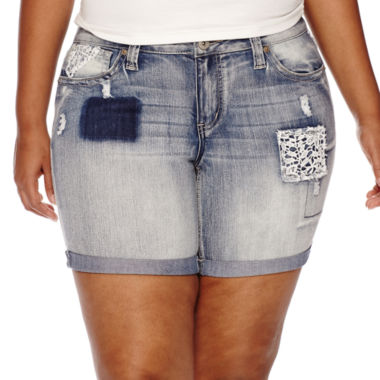 jcpenney.com | Love Indigo Patches and Crochet Bermuda Shorts - Plus