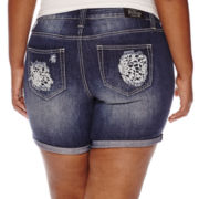 ZCO Crochet Lace Trim Fray Hem Shorts - Plus
