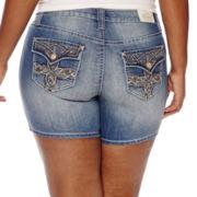 ZCO Cross-Flap-Pocket Double-Roll Denim Shorts - Plus