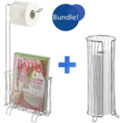 Wave Toilet Caddy and Tissue Roll Holder Bundle