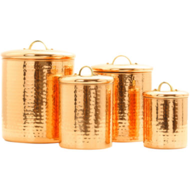 jcpenney.com | Old Dutch International® 4-pc. Décor Hammered Copper Canister Set