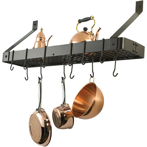 Old Dutch International® Oiled Bronze Bookshelf Pot Rack + 12 Hooks