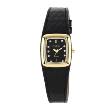jcpenney.com | Armitron® Now® Womens Crystal-Accent Black Leather Strap Watch