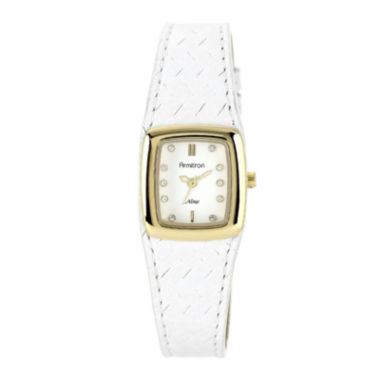 jcpenney.com | Armitron® Now® Womens Crystal-Accent White Leather Strap Watch