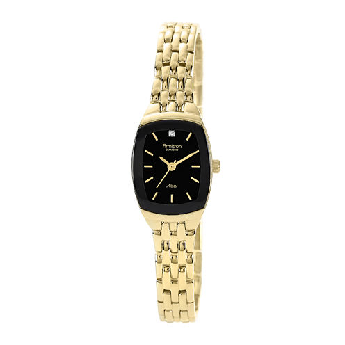 Armitron® Now Womens Gold-Tone Stainless Steel Diamond Accent Watch