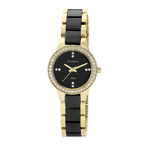 Armitron® Now® Womens Crystal-Accent Ceramic Link Bracelet Watch